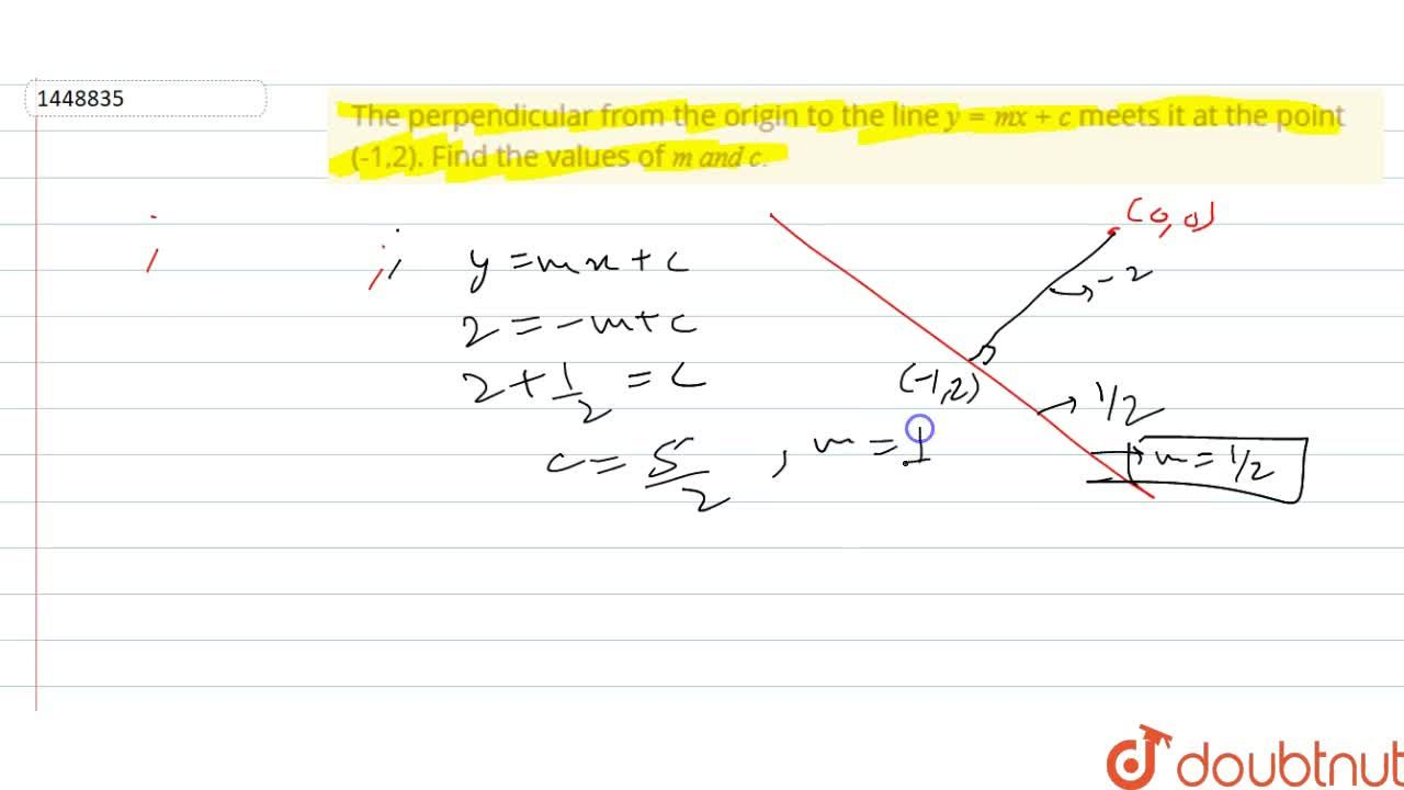 Solution for The perpendicular from the origin to the line y=m