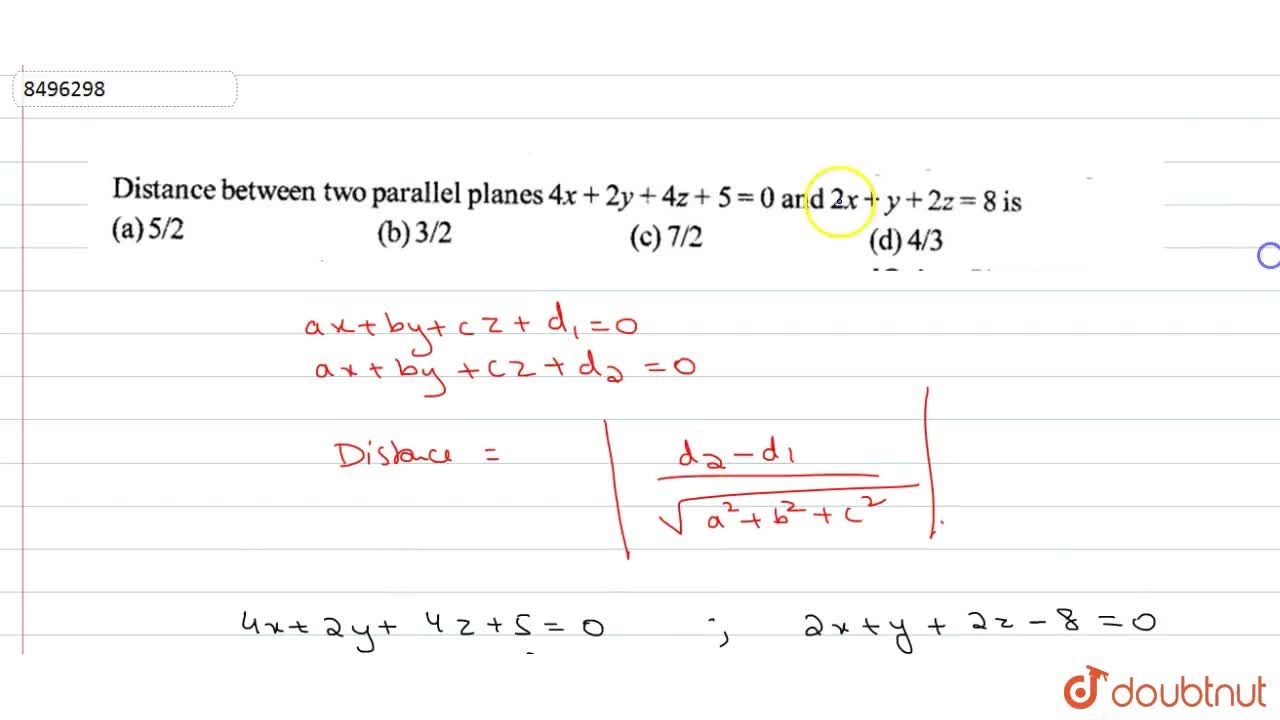 Solution for Distance between two parallel planes 4x+2y+4z=5=0