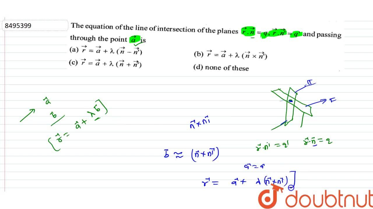 Solution for The equation of the line of intersetion of the pla