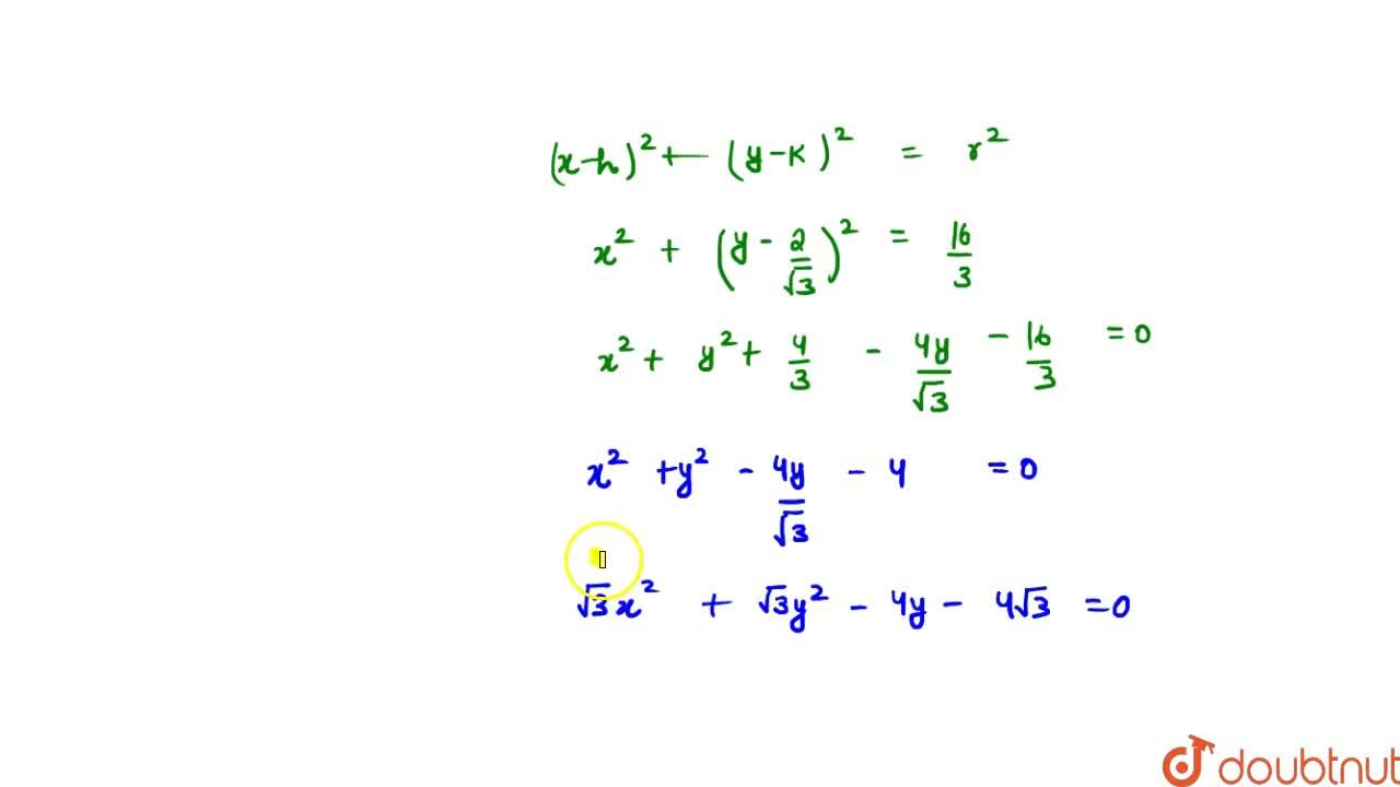 Solution for An equilateral triangle whose two vertices are (-