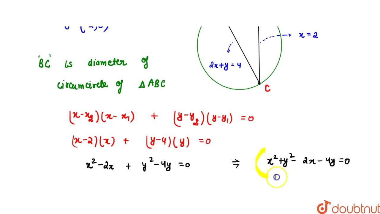 Three sides of a triangle are represented by lines whose combined equation is (2x+y-4) (xy-4x-2y+8) = 0, then the equation of its circumcircle will be : (A) x^2 + y^2 - 2x - 4y = 0 (B) x^2 + y^2 + 2x + 4y = 0 (C) x^2 + y^2 - 2x + 4y = 0 (D) x^2 + y^2 + 2x - 4y = 0