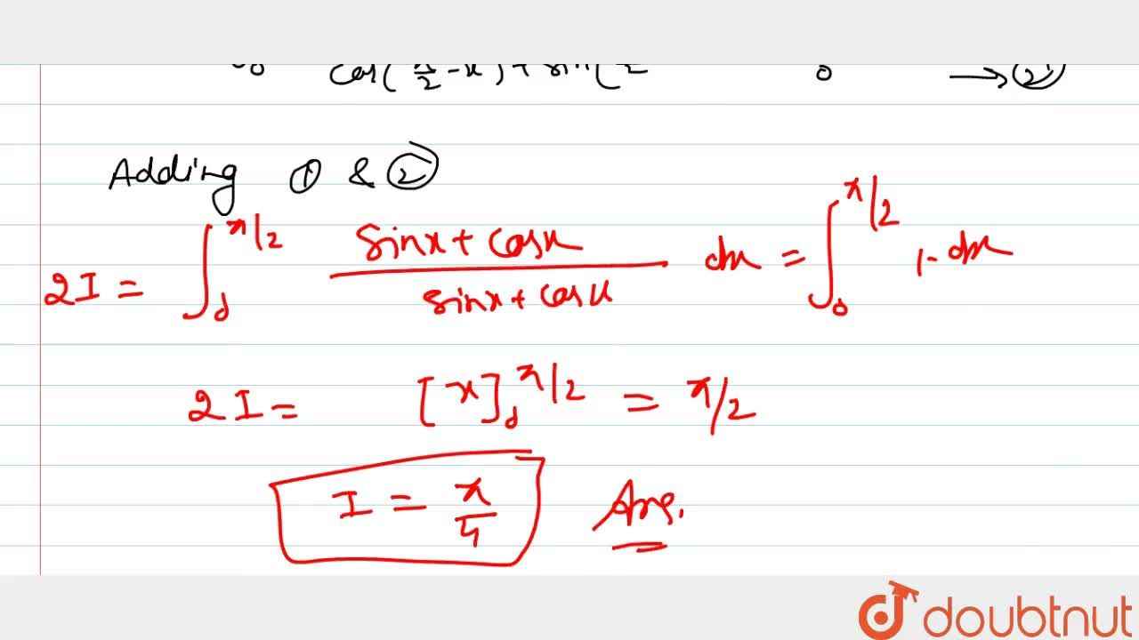 Solution for int_0^21,(1+tanx)dx is   equal to (pi^),4 (b)