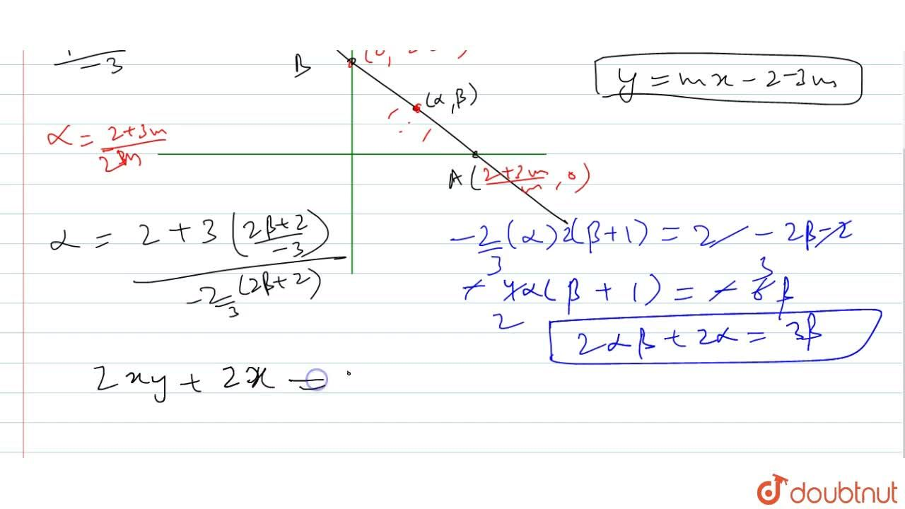 Solution for A line passes through the point (3,-2). Find the l