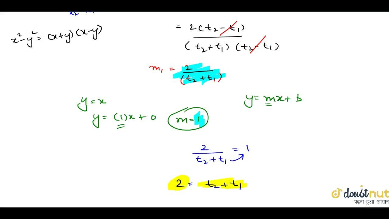 Solution for If the line joining the points (at_1^2,2at_1)(at_
