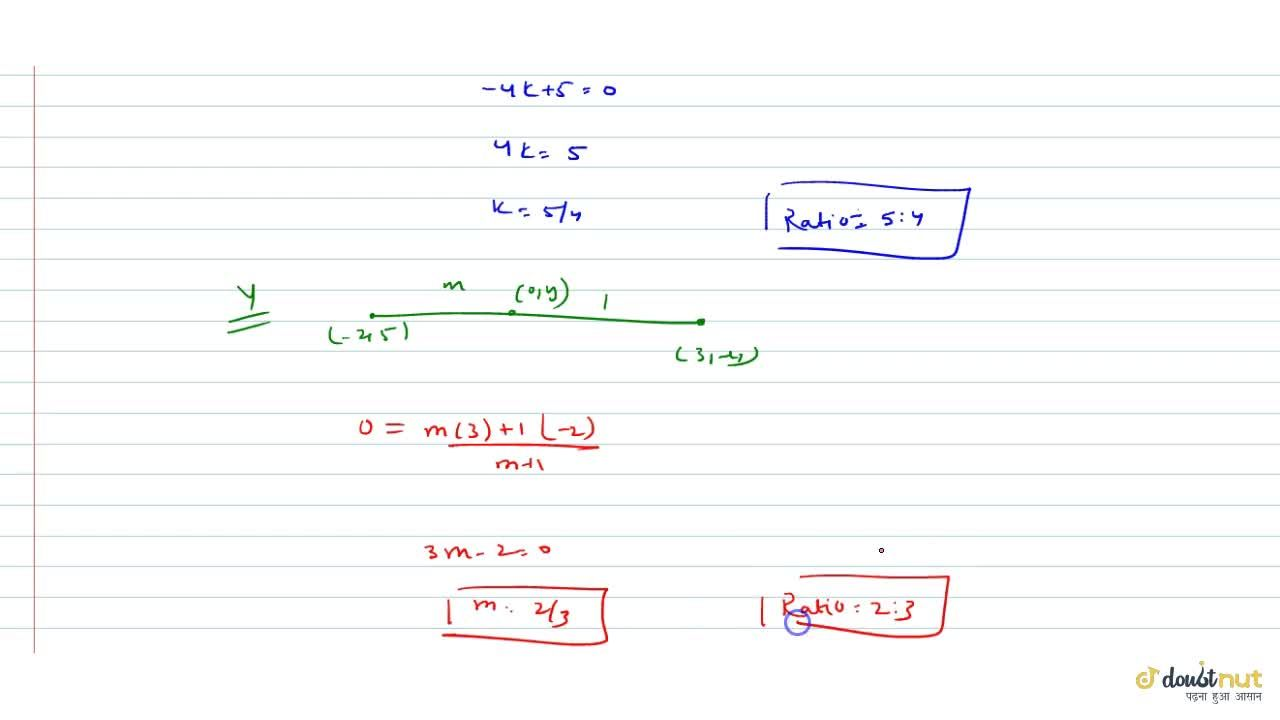 Solution for In what ratio do the coordinate axes divide  the l