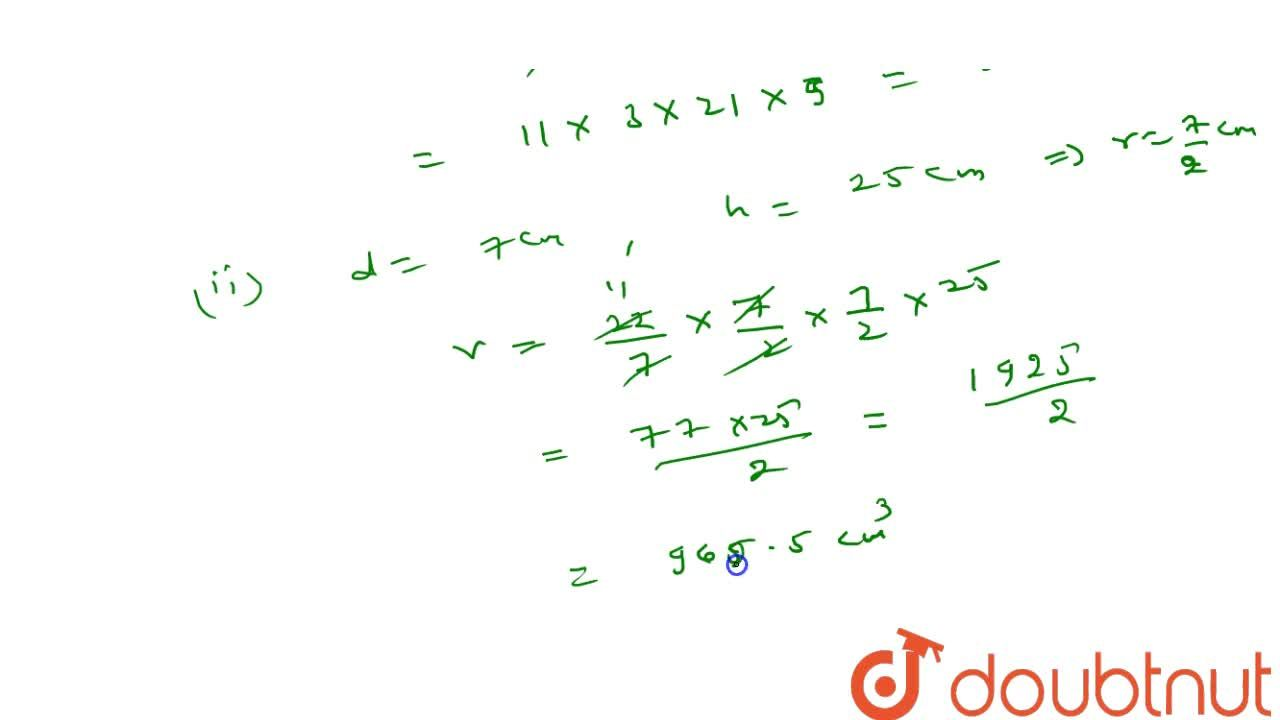 Solution for Find the volume of a cylinder, if the diameter (d