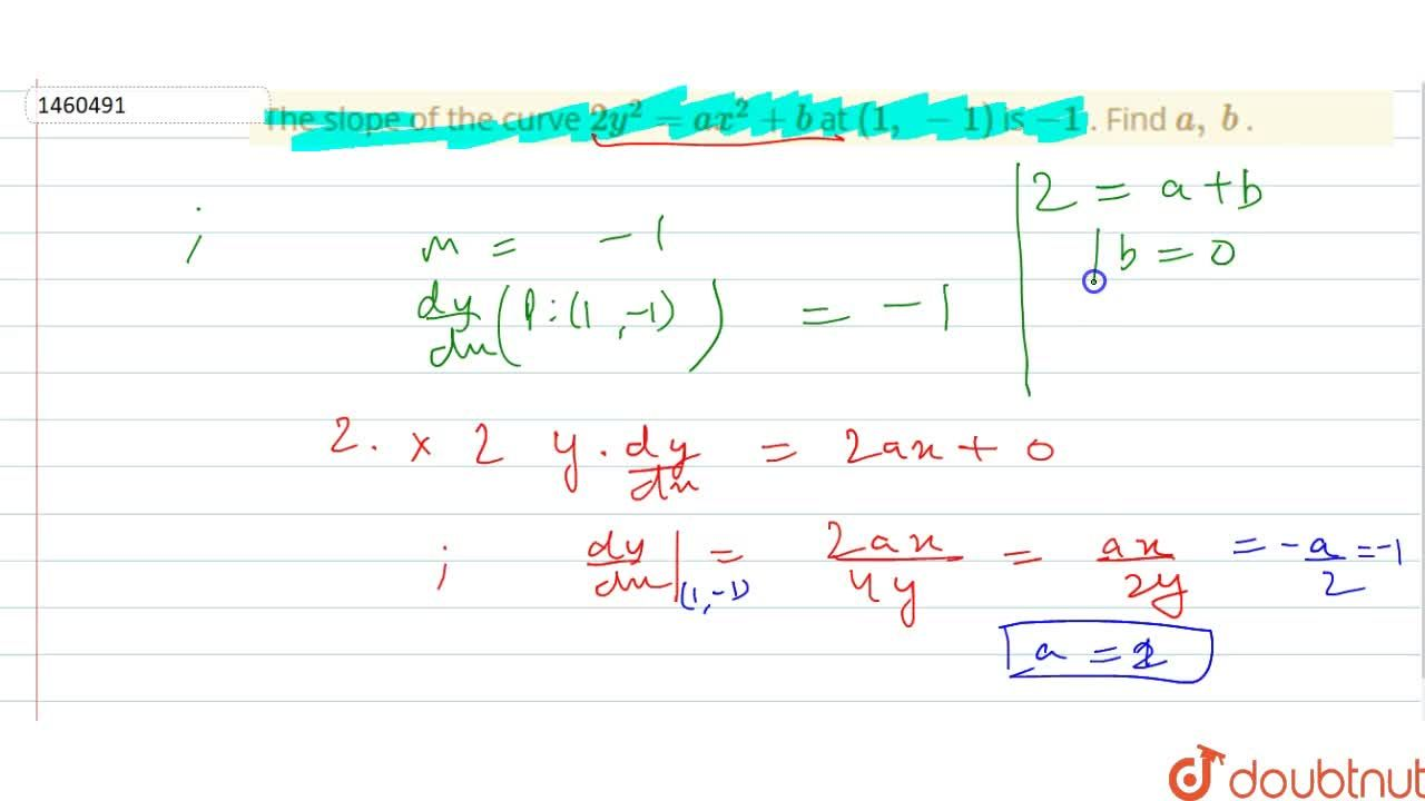 Solution for The slope of the curve 2y^2=a x^2+b at (1,\ -1)