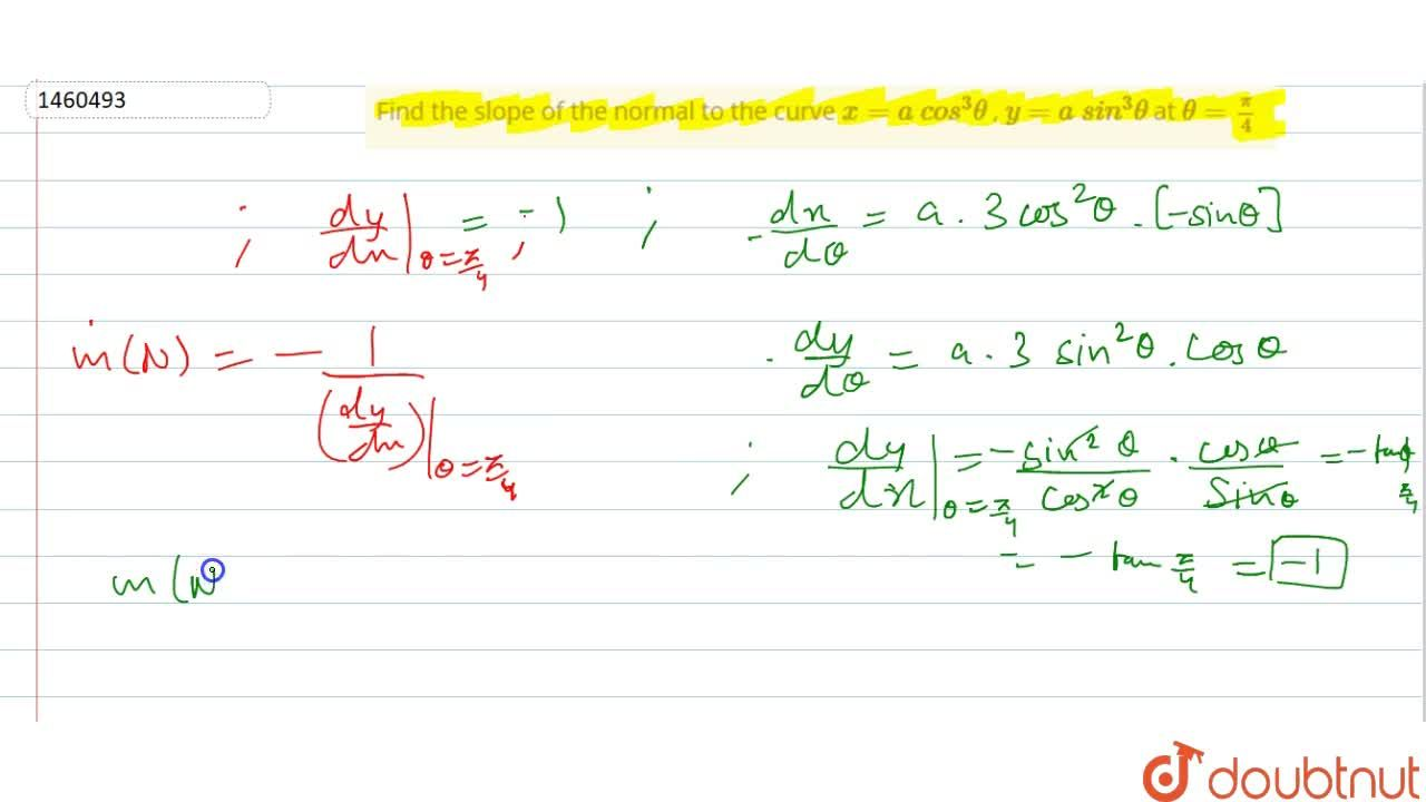 Solution for Find the slope of the   normal to the curve x=a\