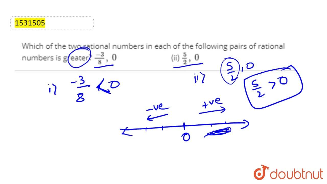 Solution for Which of the two rational   numbers in each of th