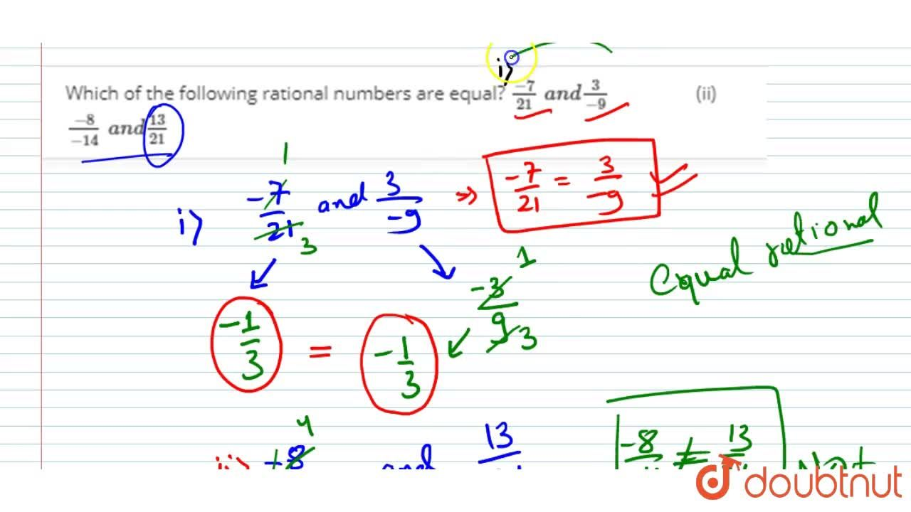 Solution for Which of the following   rational numbers are equ