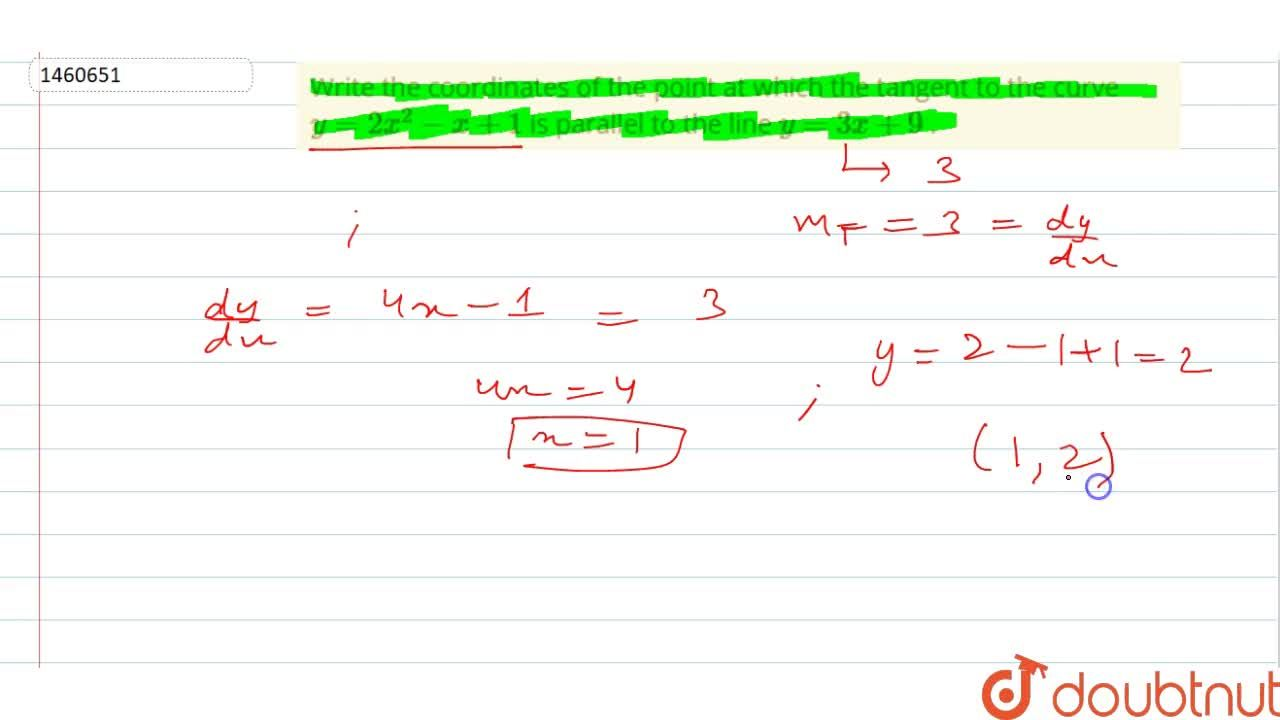 Solution for Write the coordinates   of the point at which the