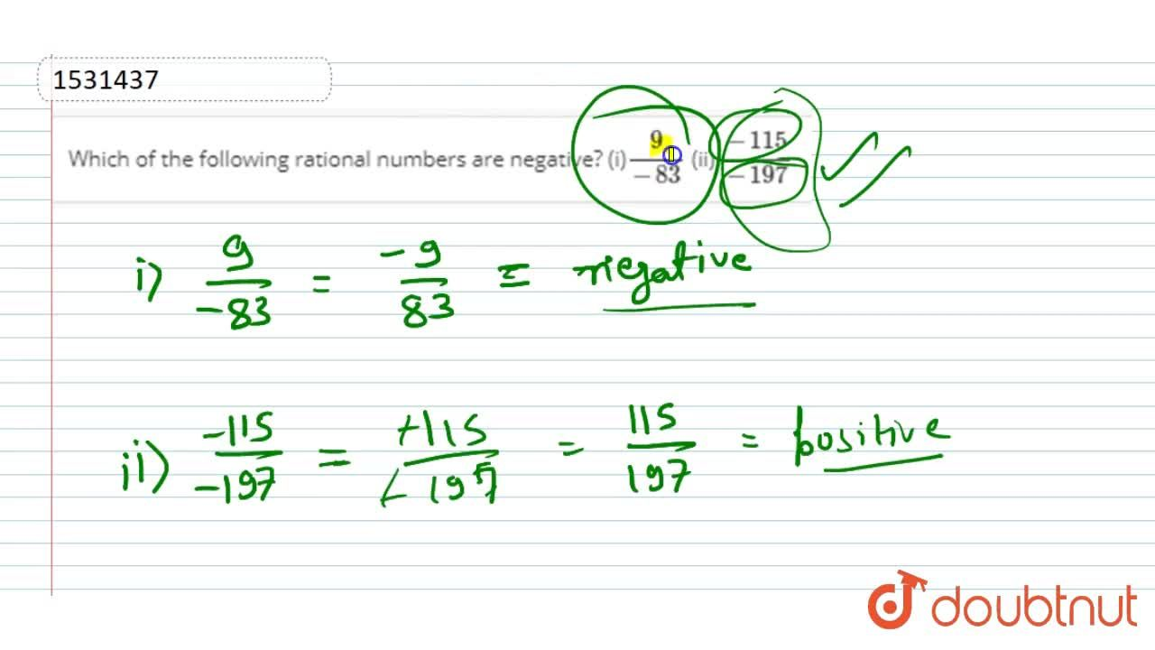 Solution for Which of the following   rational numbers are nega