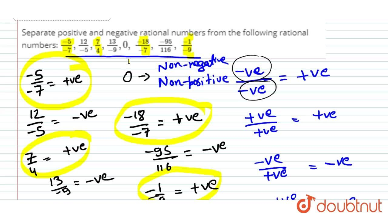 Solution for Separate positive and   negative rational numbers