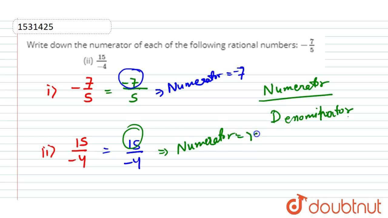 Write down the numerator