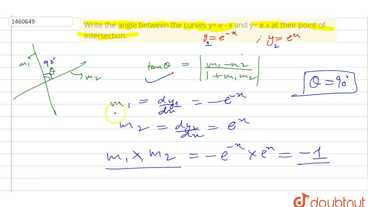 Write the angle between   the curves y=e^(-x) and y=e^x at their point of   intersection.