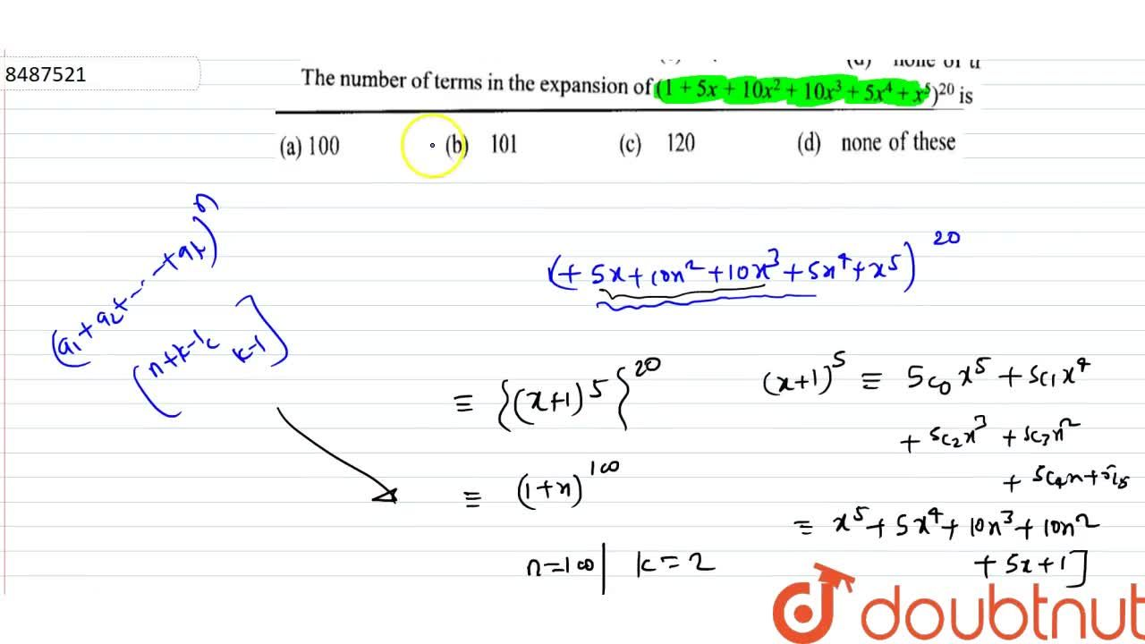 Solution for The number of terms in te expansion of (1+5x+10x^
