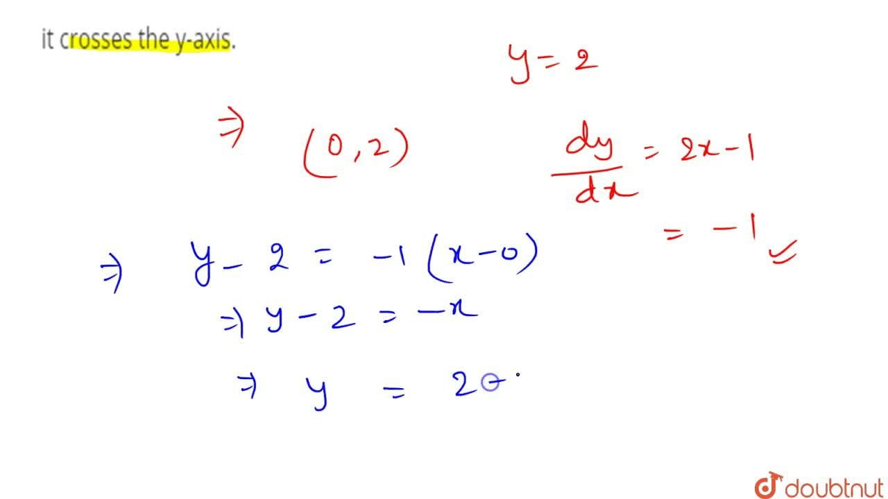Write the equation of   the tangent to the curve y=x^2-x+2 at the point where it   crosses the y-axis.