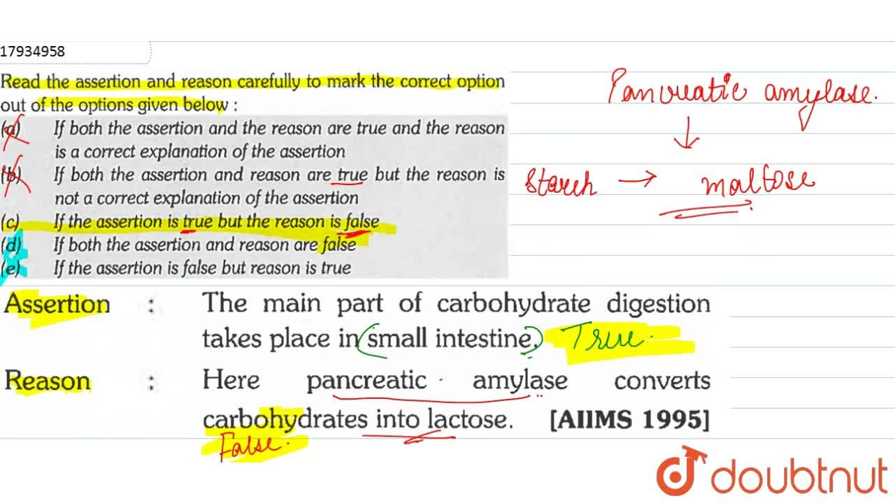 Solution for Read the assertion and reason carefully to mark th