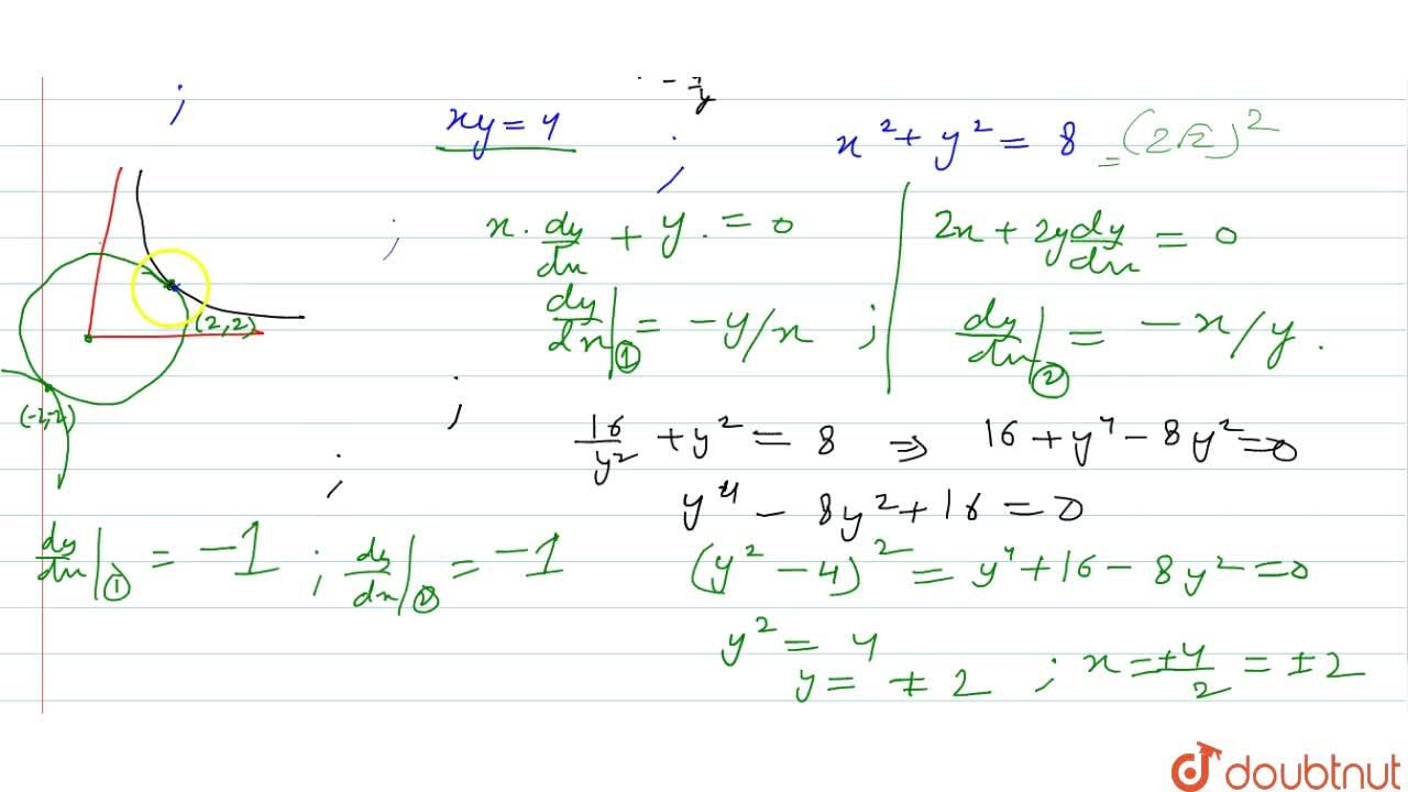 Solution for Prove that the curves x y=4 and x^2+y^2=8 touc