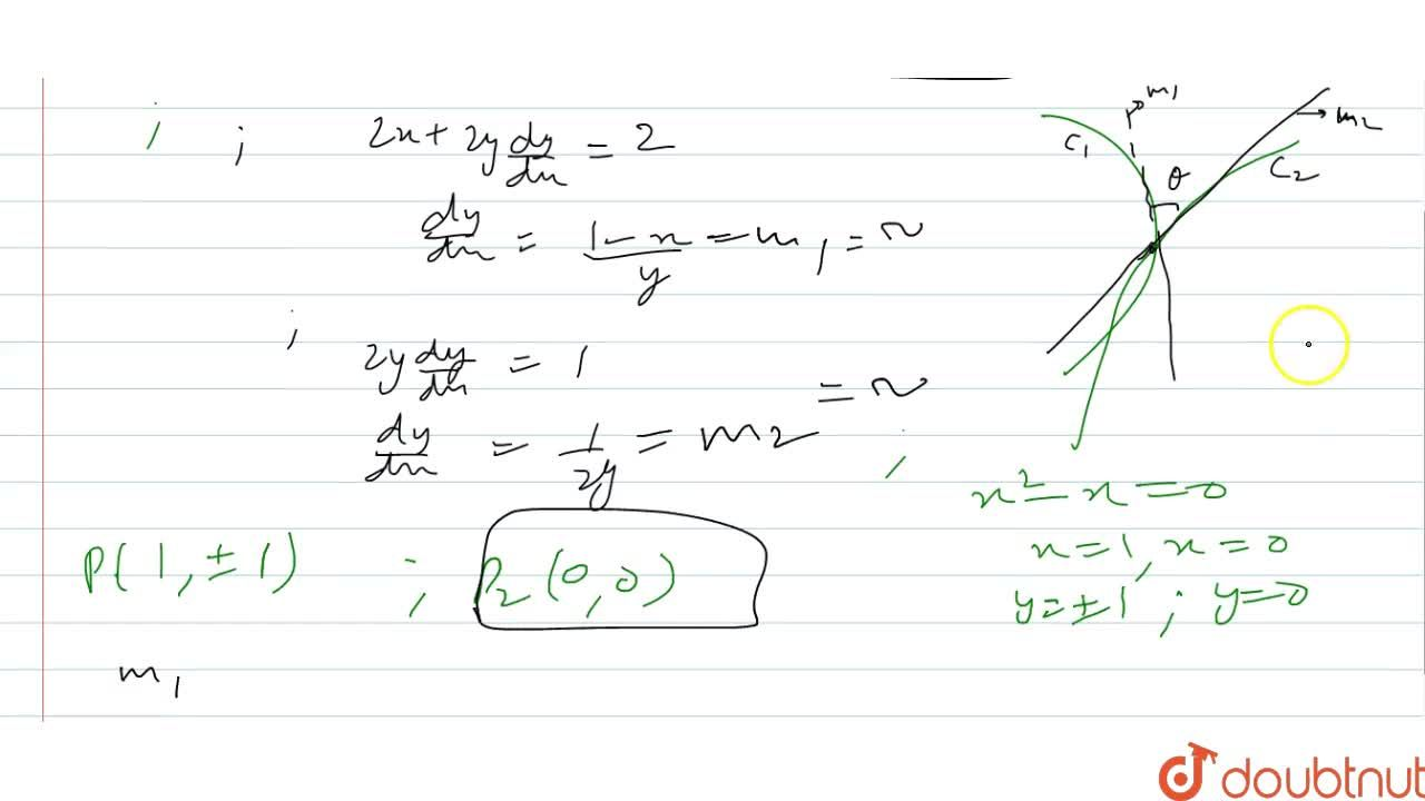 Solution for Find the angle of   intersection of curve x^2+y^