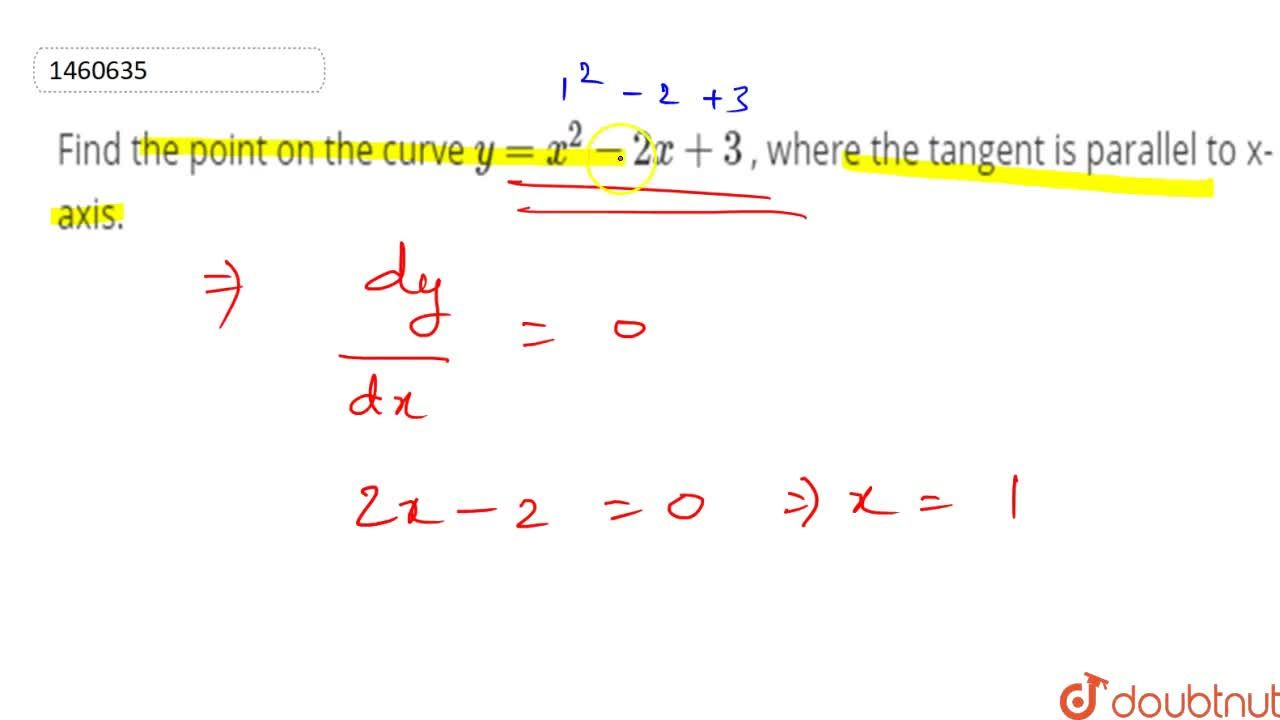 Find the point on the   curve y=x^2-2x+3 , where the tangent is   parallel to x-axis.