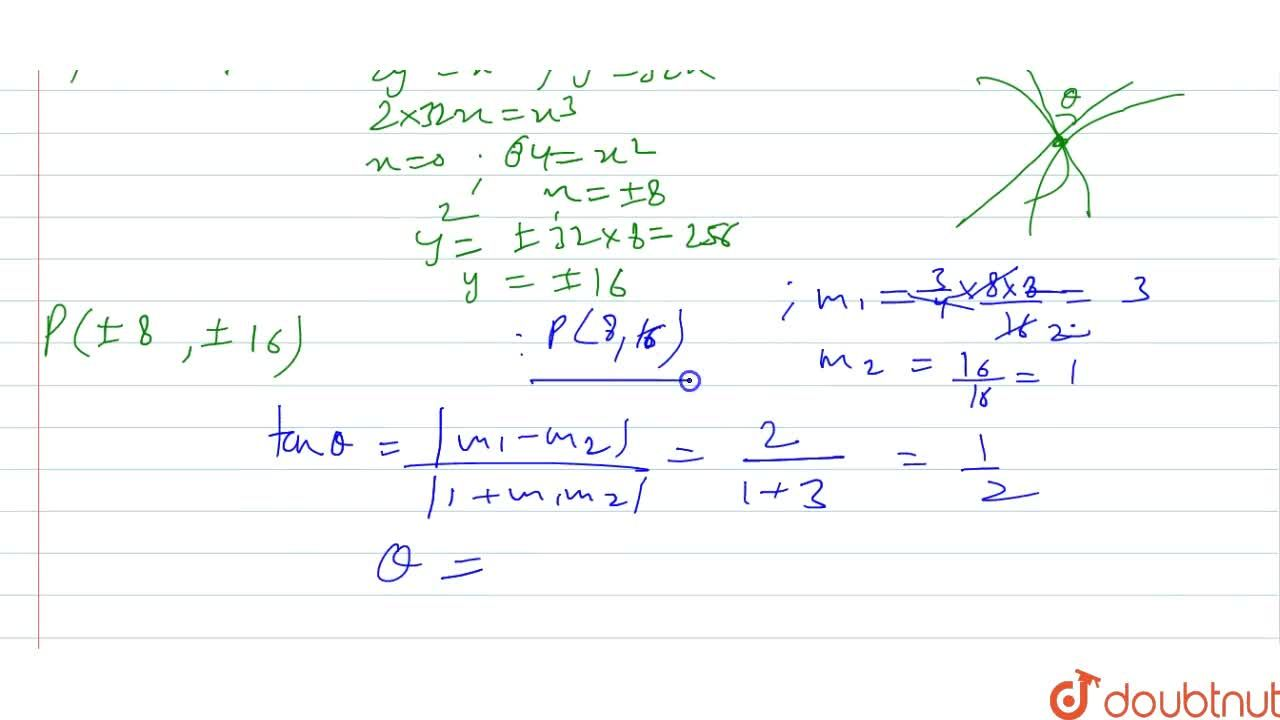 Solution for Find the angle of   intersection of curve 2y^2=x