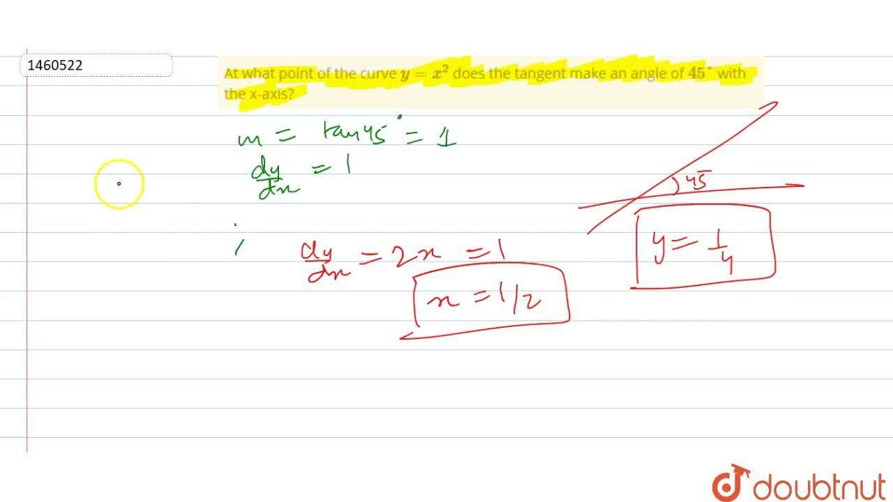 Solution for At what point of the   curve y=x^2 does the tan