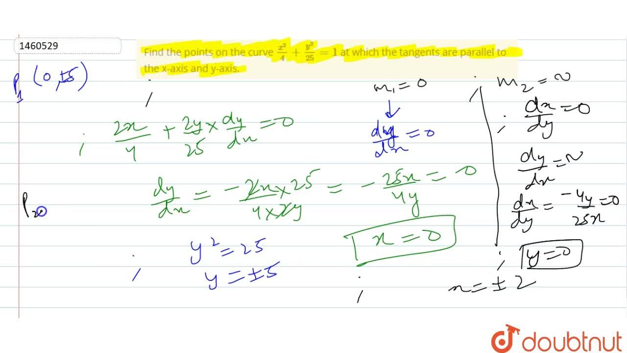 Solution for Find the points on the   curve (x^2),4+(y^2),(25