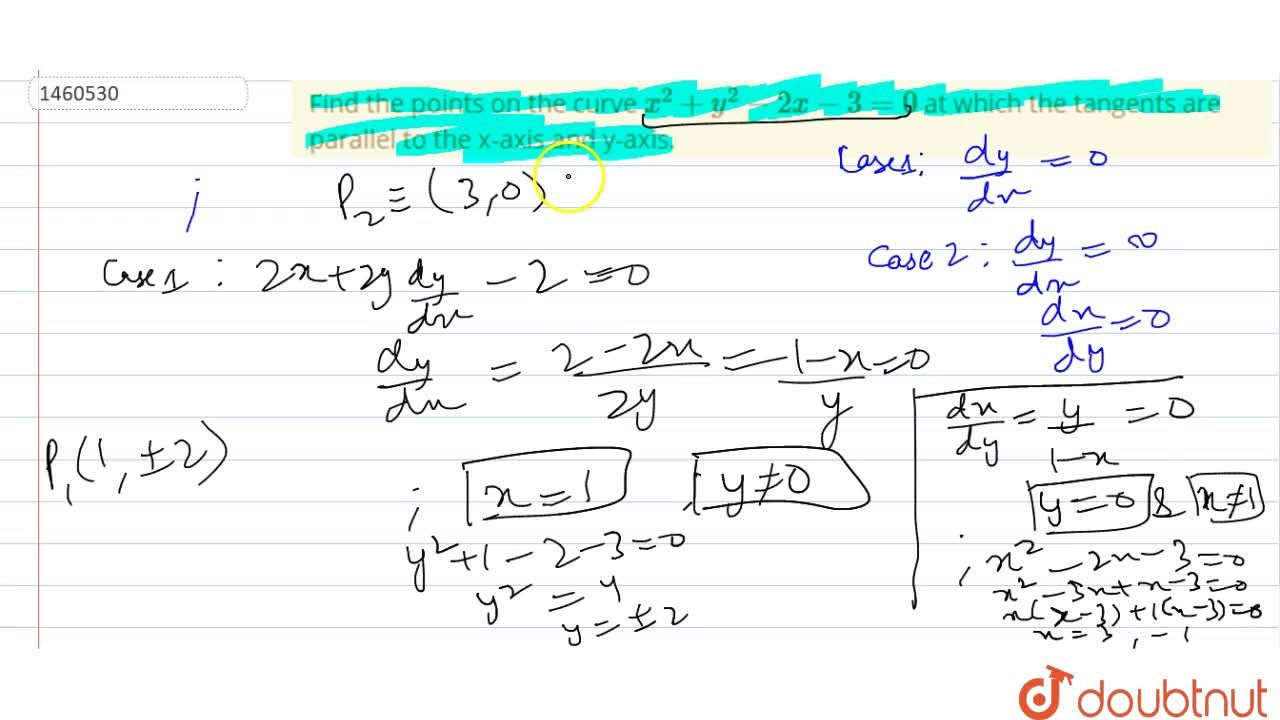Solution for Find the points on the   curve x^2+y^2-2x-3=0 a