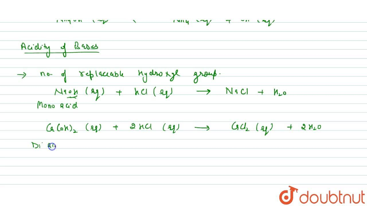 Solution for Chemical Properties Of Acids And Bases