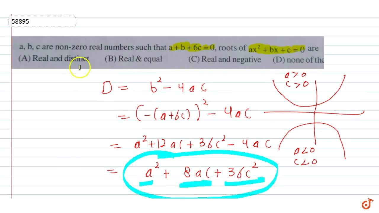 Solution for 40. a, b, c are non-zero real numbers such that a