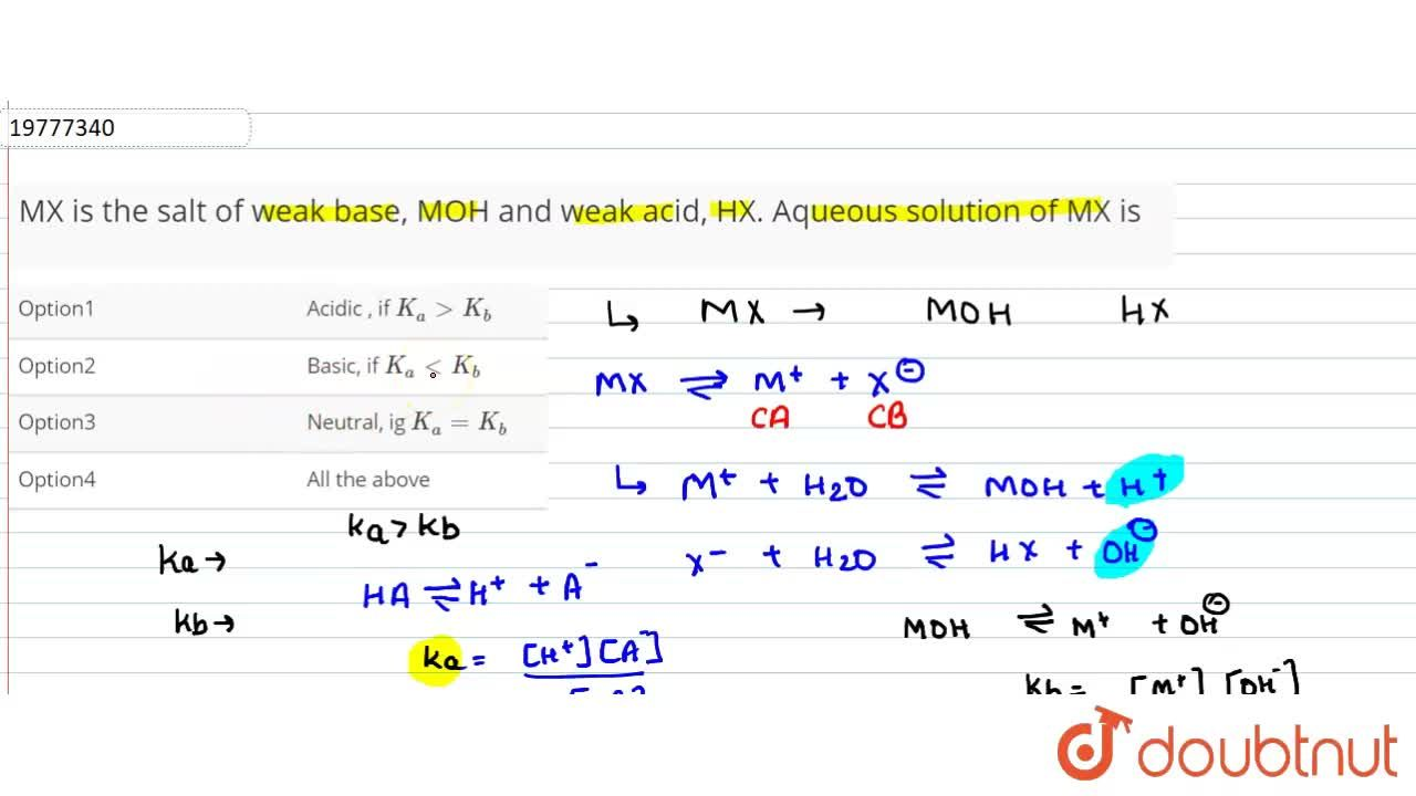Solution for MX is the salt of weak base, MOH and weak acid, HX