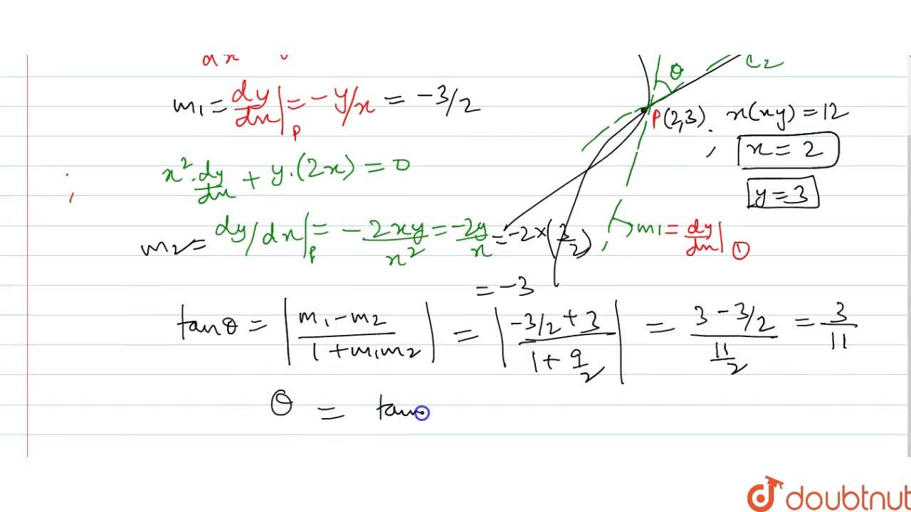 Solution for Find the angle of   intersection of x y=6 and