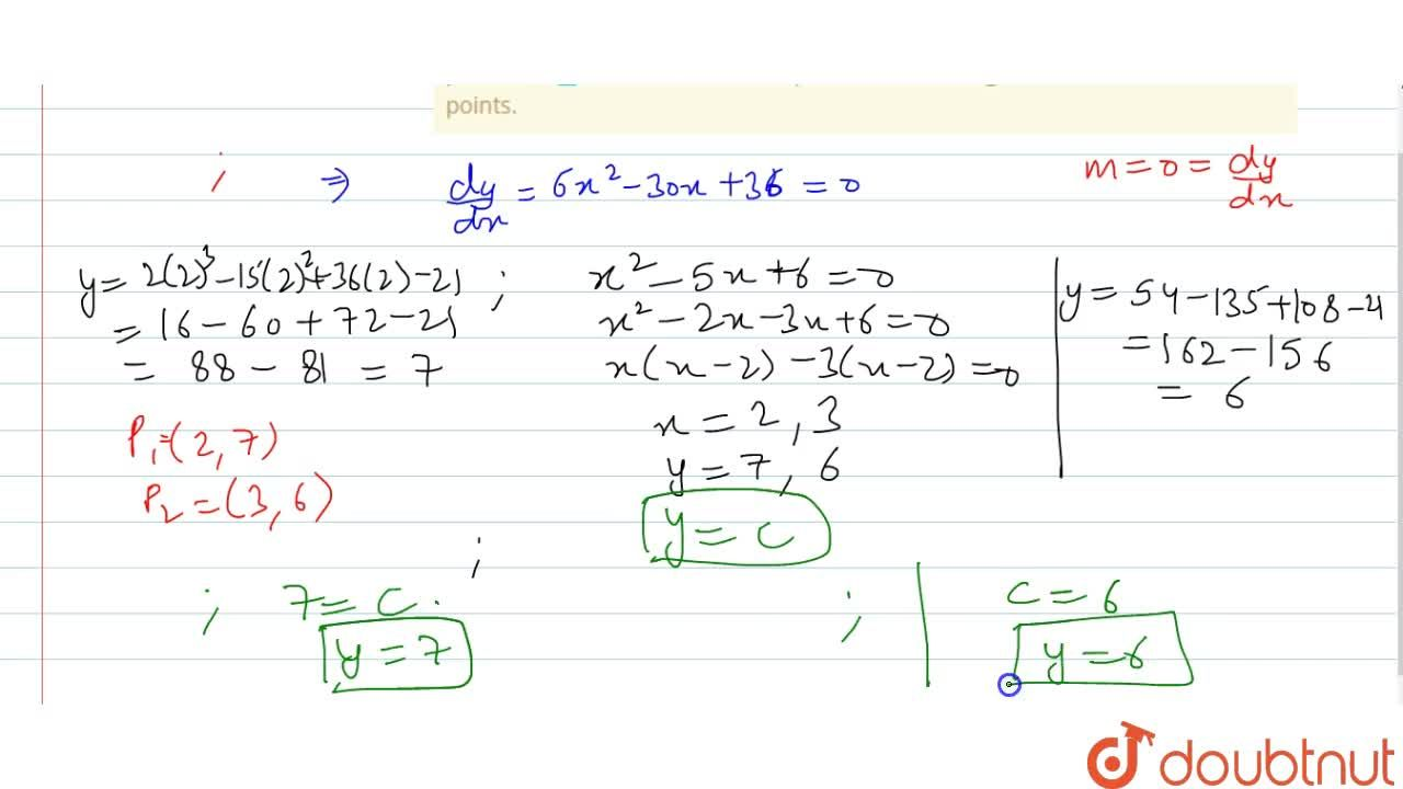 Solution for At what points will be   tangents to the curve y