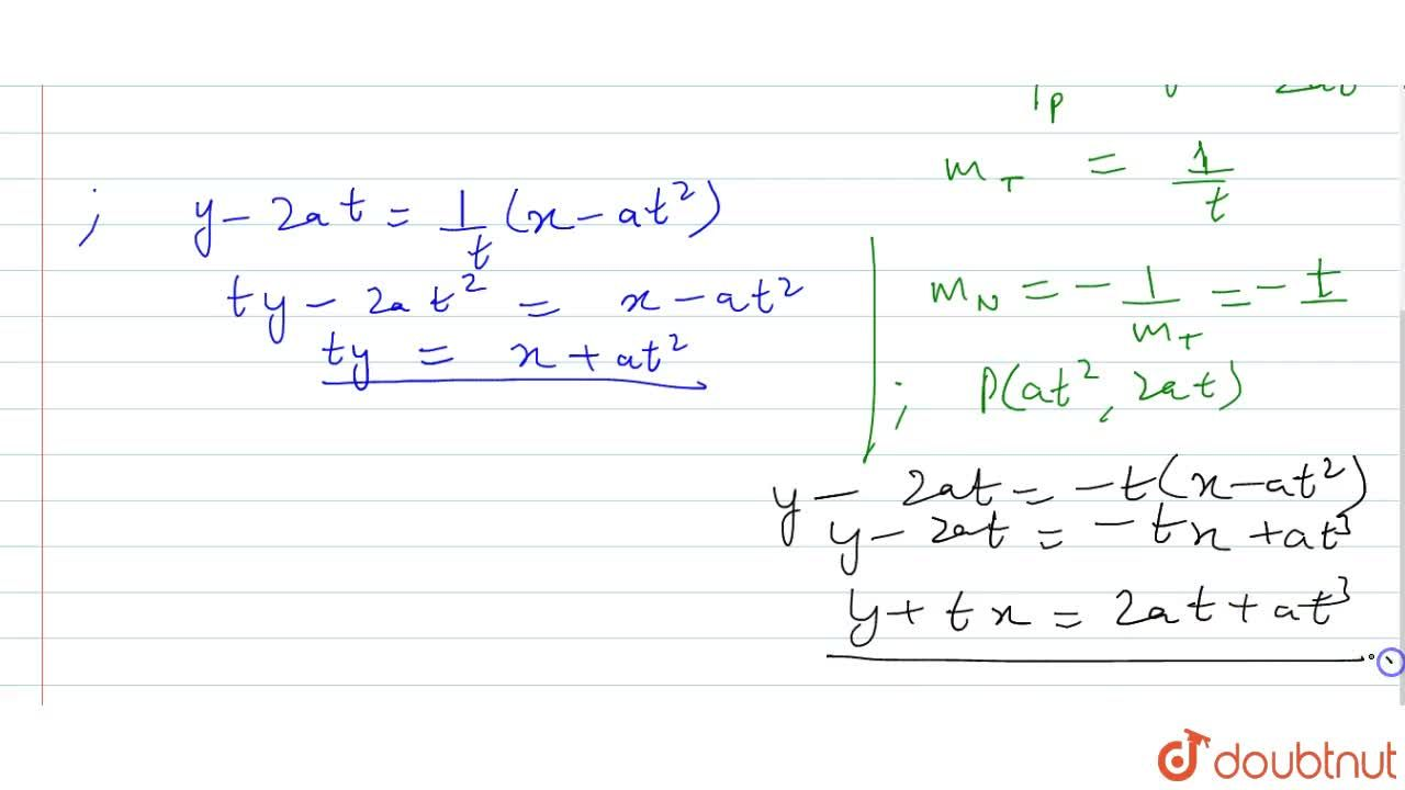 Find the equation of   the tangent and normal to the parabola y^2=4a x at the point (a t^2,\ 2a t) .