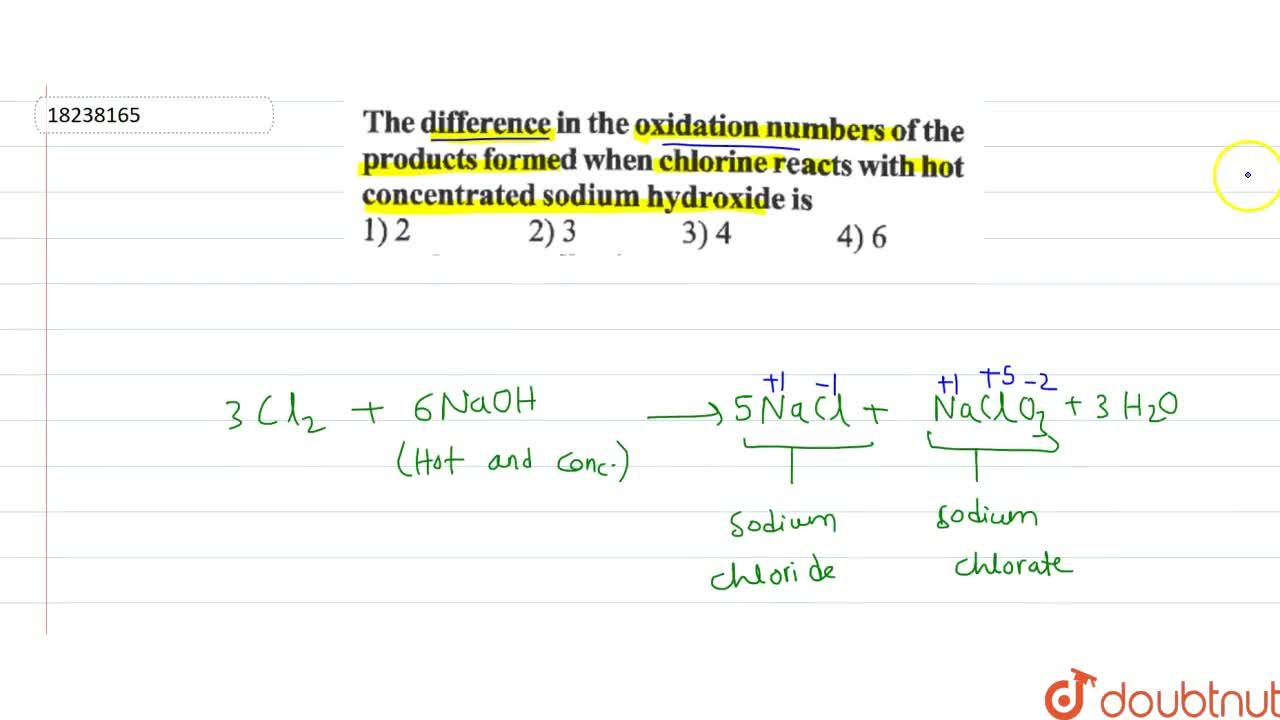 Solution for The difference in the oxdiation numbers of the pro