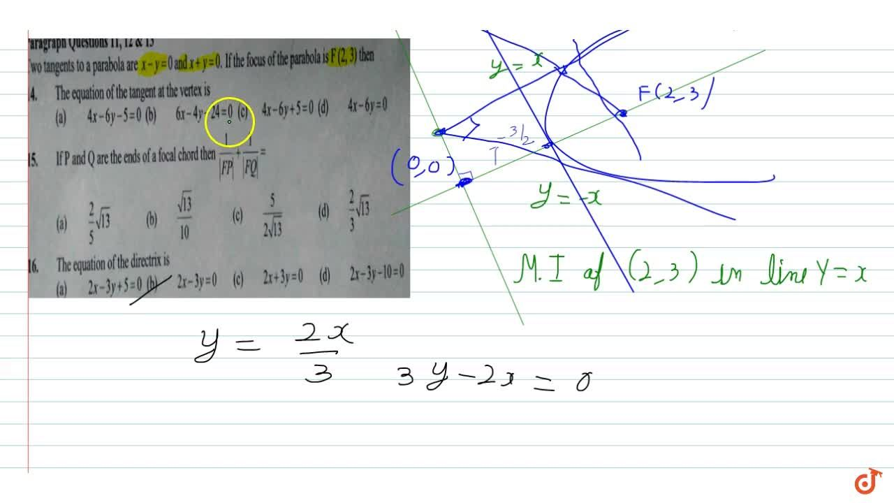 Solution for the tangent to a parabola are x-y=0 and x+y=0 If
