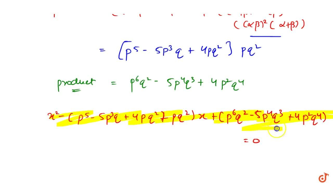 Solution for If alpha,beta are roots of x^2-px+q=0 then fin