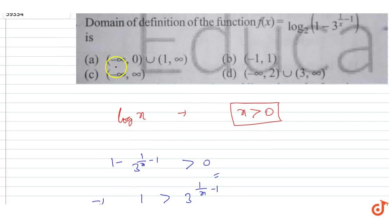 Domain of definition of the function f(x)=log_2(1-3^(1,x-1)) is