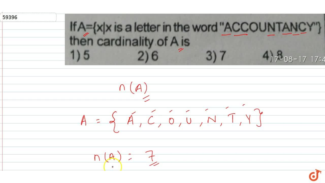 """Solution for  If A={x x is a letter in the word """"ACCOUNTANCY"""""""
