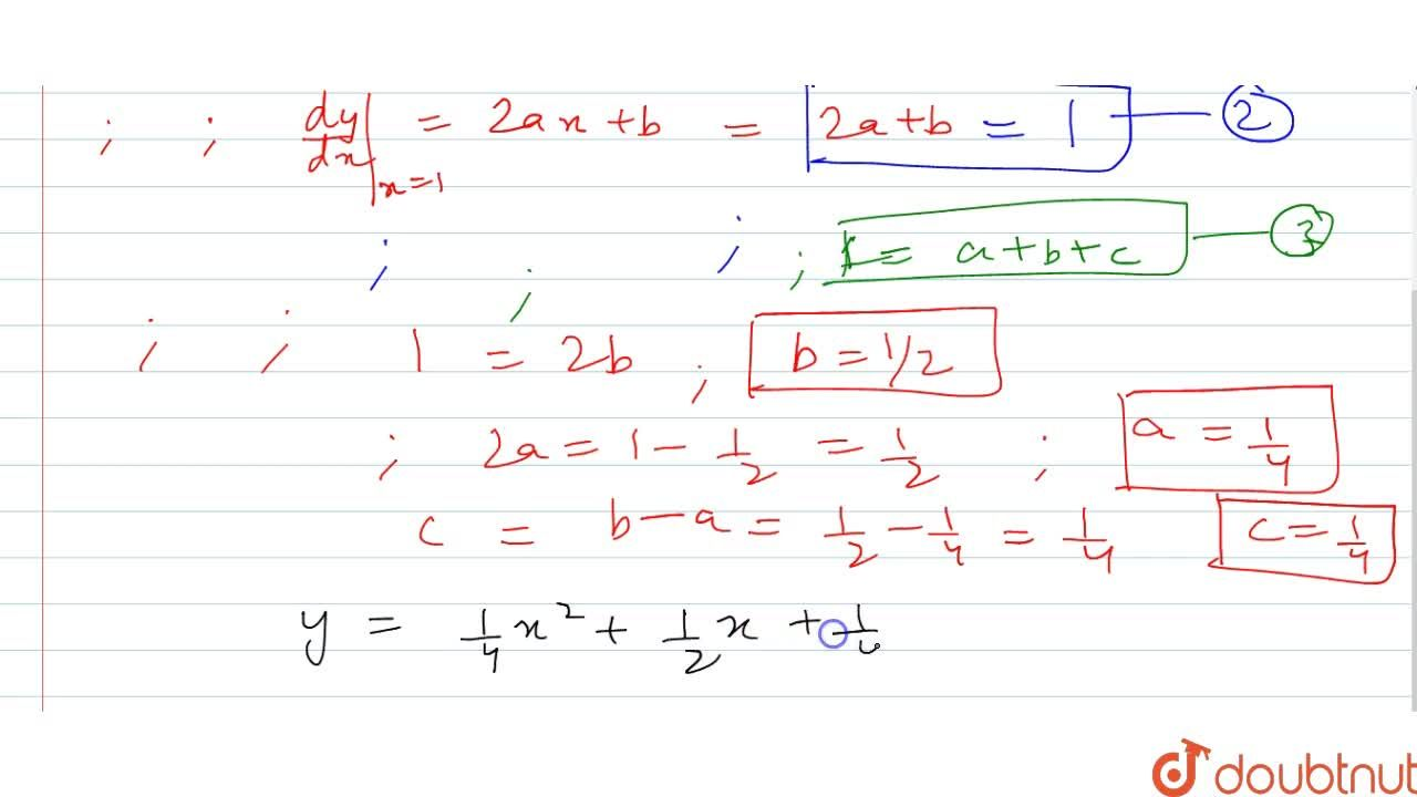 Solution for Determine the quadratic   curve y=f(x) if it to