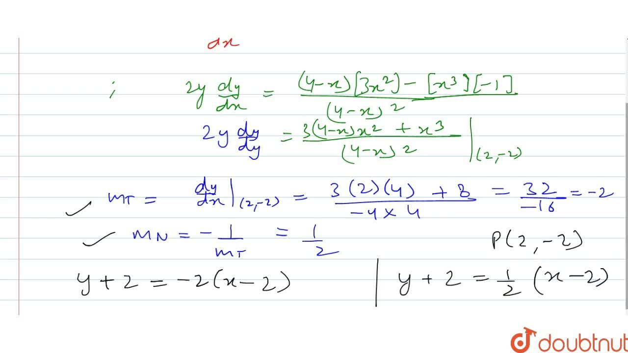 Find the equations of   the tangent and the normal to the curve y^2=(x^3),(4-x) at (2,\ -2) at the indicated points