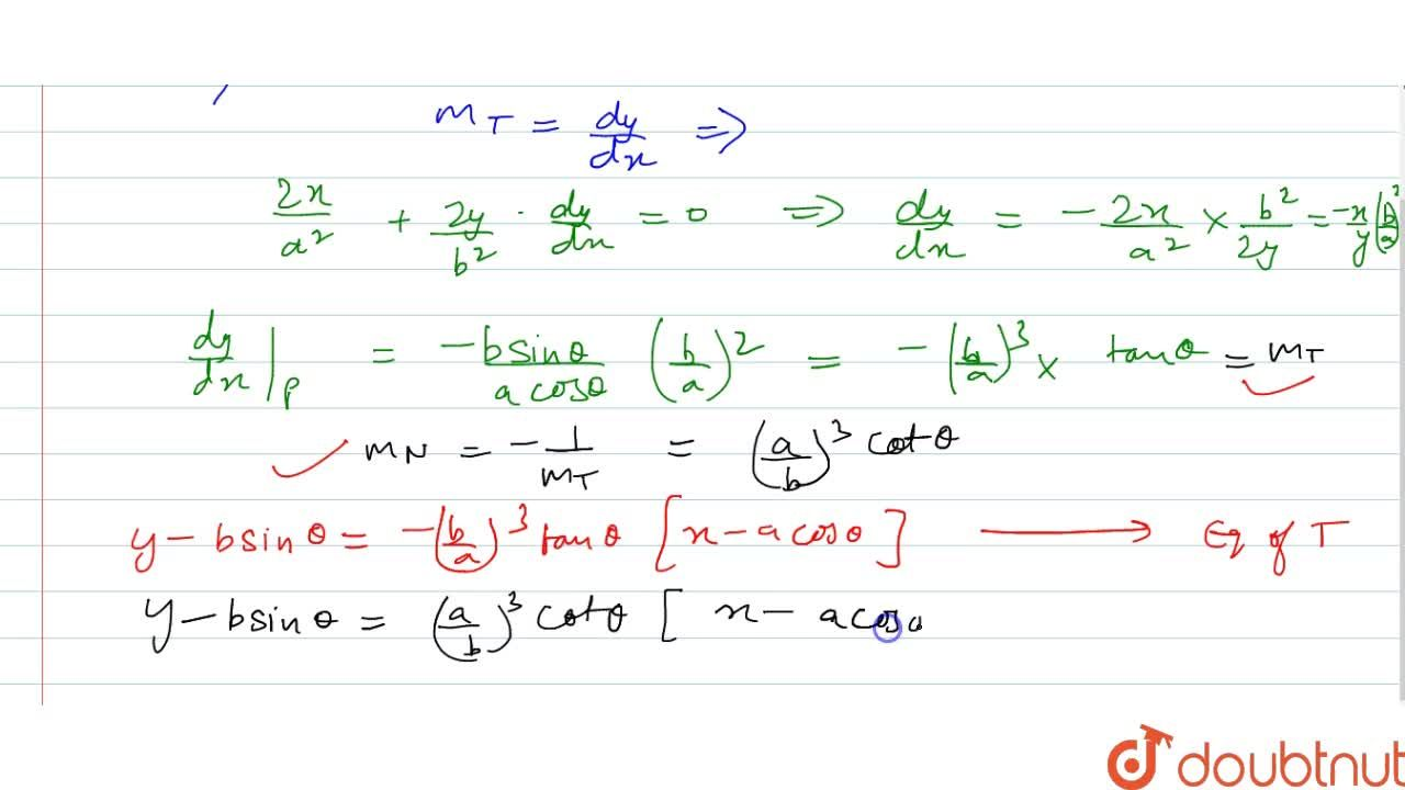 Find the equations of   the tangent and the normal to the curve (x^2),(a^2)+(y^2),(b^2)=1 at (acostheta,\ bsintheta) at the indicated points