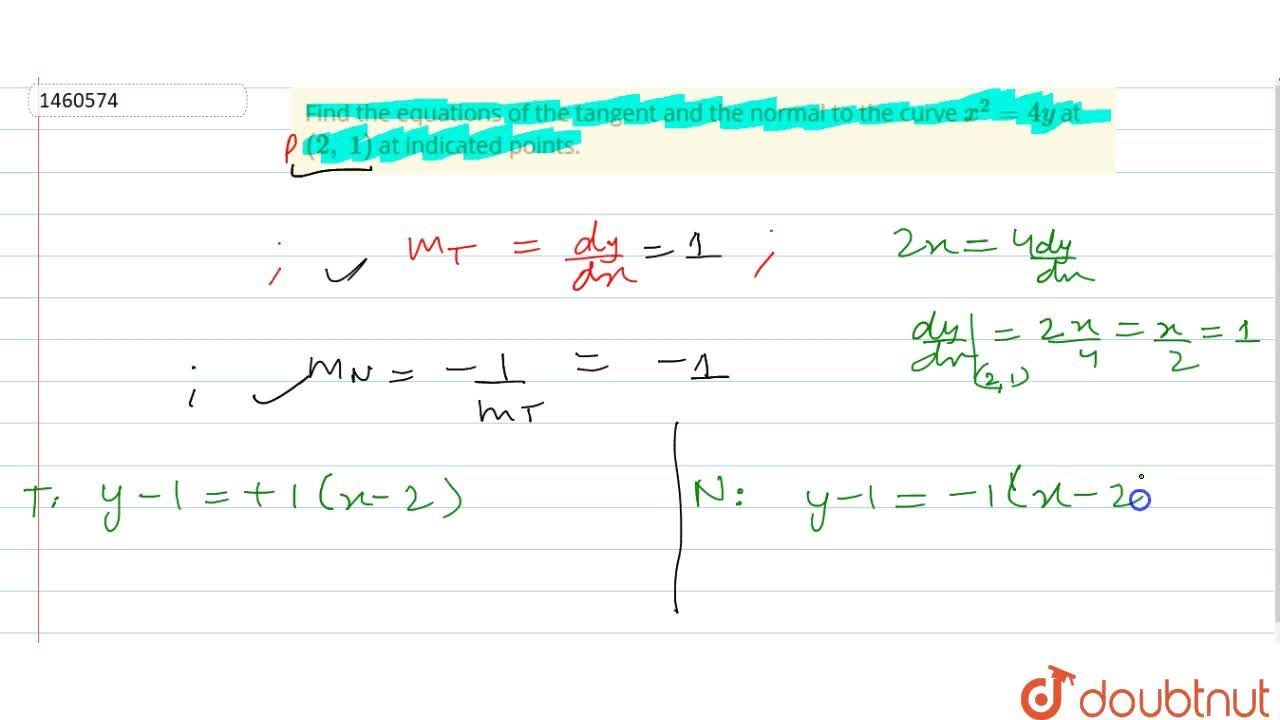 Find the equations of   the tangent and the normal to the curve x^2=4y at (2,\ 1) at indicated points.