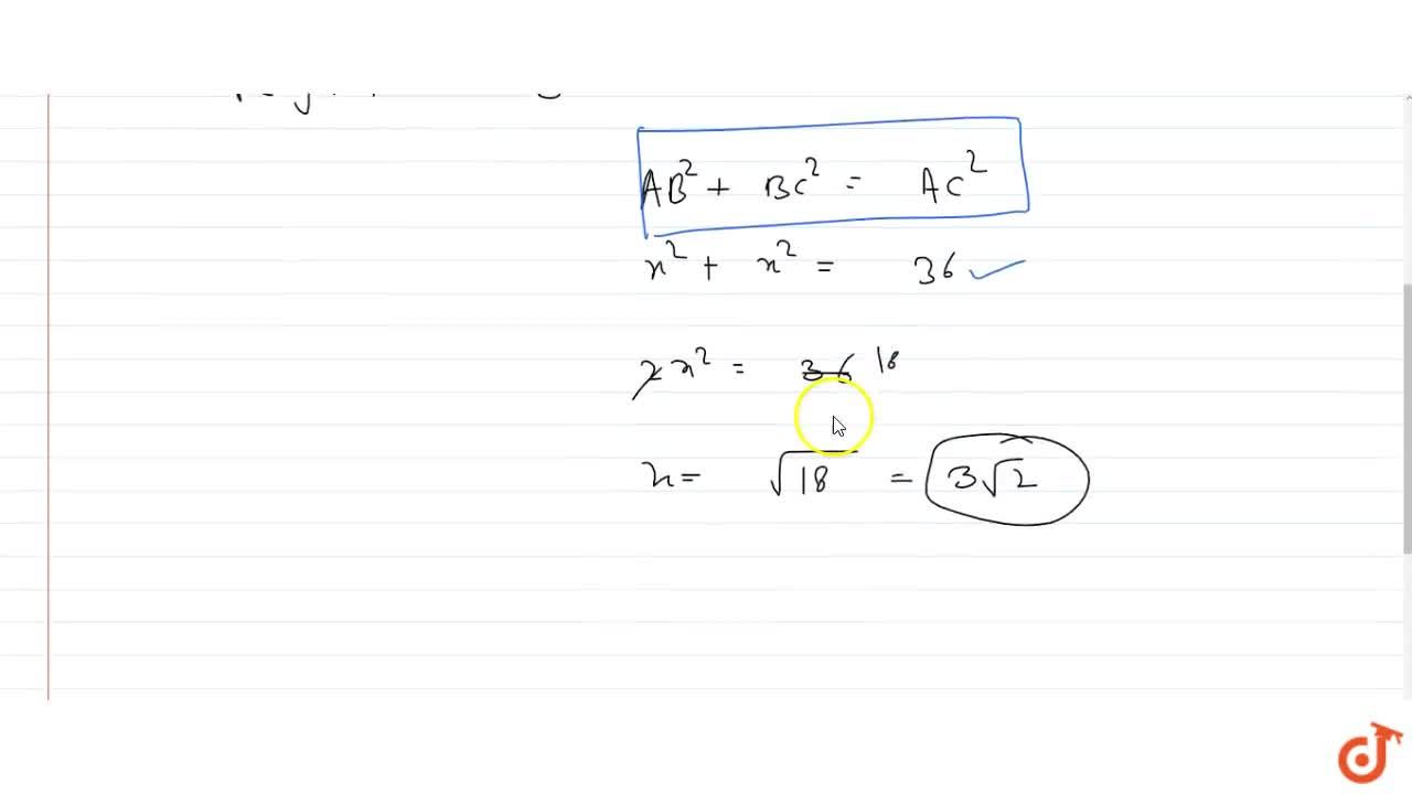 Solution for A right angled isosceles triangle is inscribed in