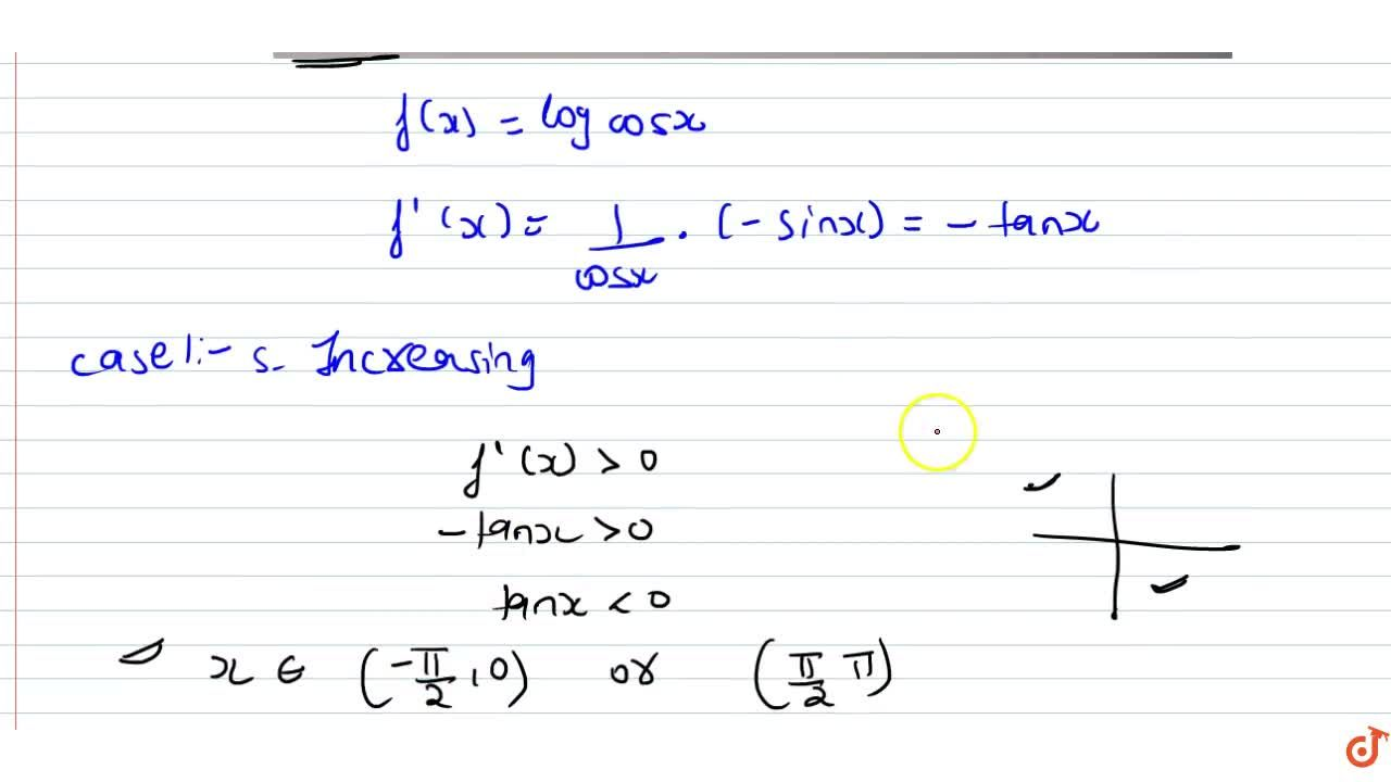 Solution for Prove that the function f given by f(x)=log(cos x