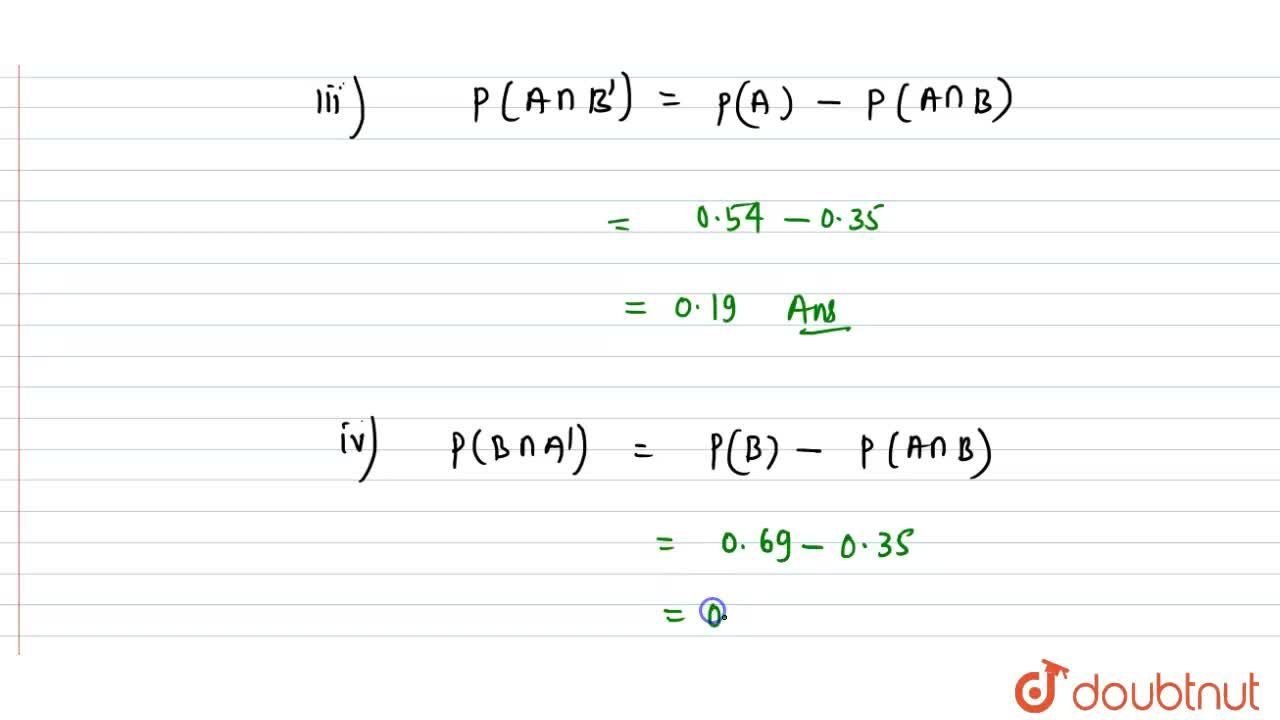 Solution for A and B are two events such that P(A) = 0. 54,