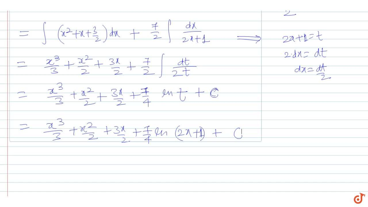 Solution for int (2x^3 + 3x^2 + 4x + 5),(2x +1) dx  equls to