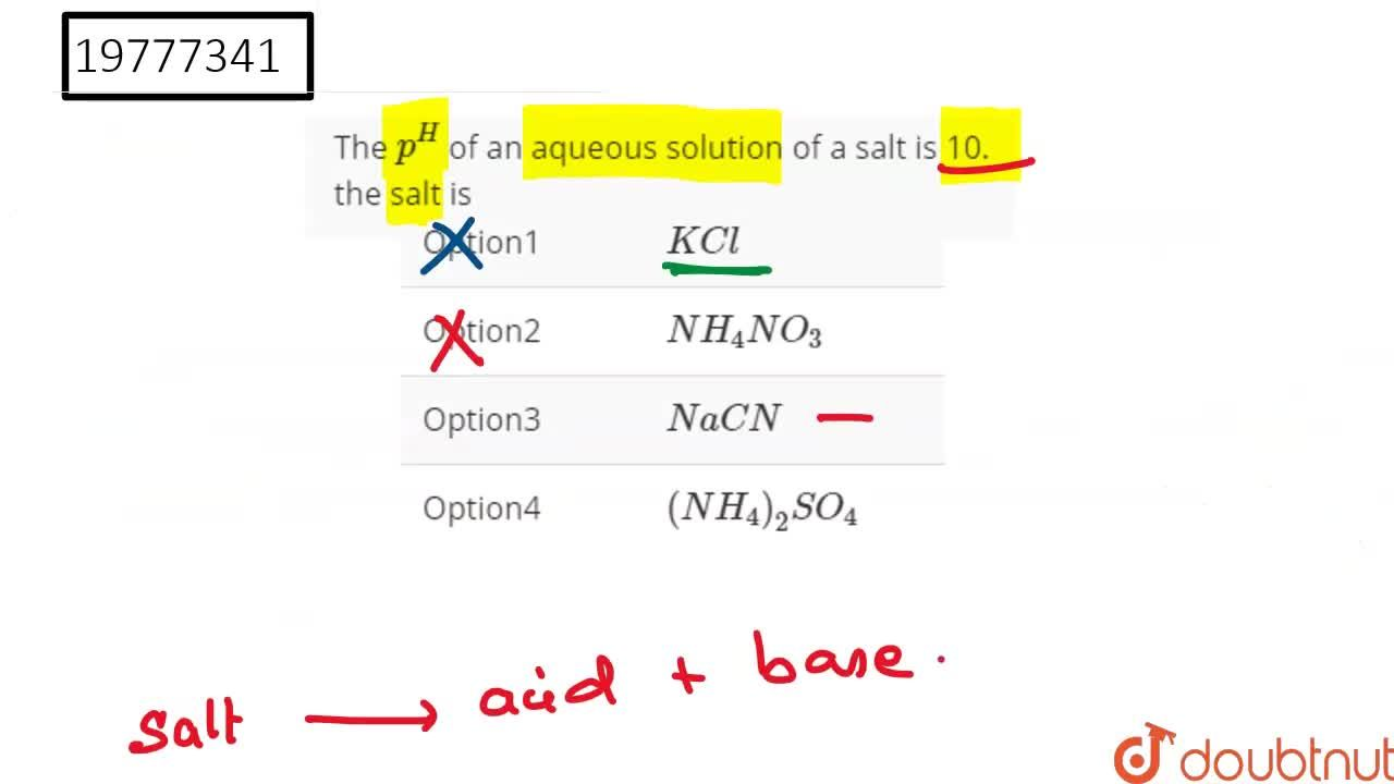 Solution for The p^(H) of an aqueous solution of a salt is 10