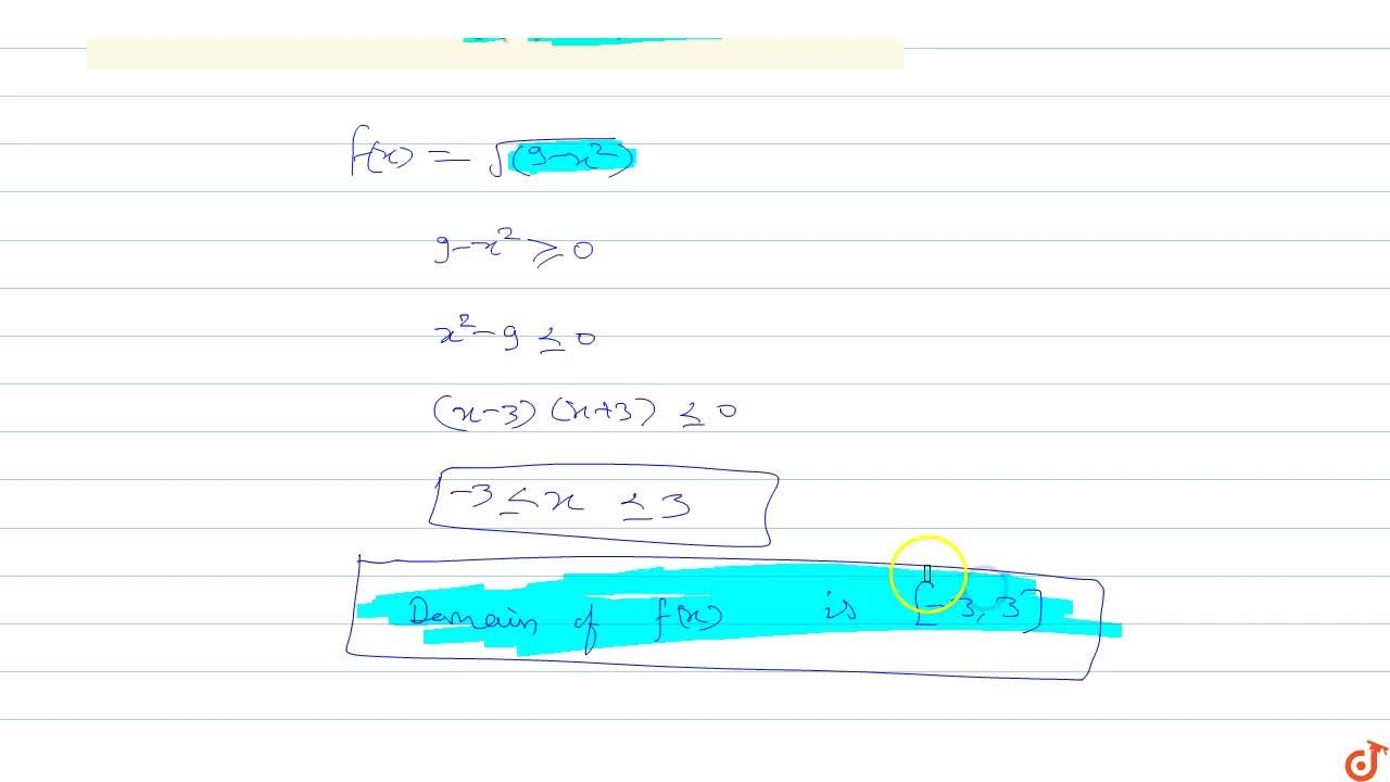 Solution for Find domain of function f(x)=sqrt(9-x^2)